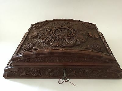 Antique Wood Hand Crafted Jewelry Box