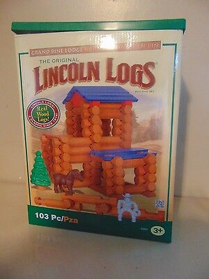 Lincoln Logs Grand Cowboy Horse Figure Wooden Pine Lodge with Storage Container