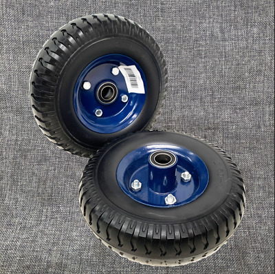 """2× 8"""" 20mm Bore Puncture Proof Solid Rubber Wheels Trolley Flat Free Tire Tyre"""