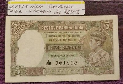 Nd India 1943 Five Rupees, Unc.