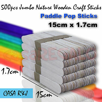 500pcs Jumbo Natural Wooden Craft Sticks Paddle Pop Sticks 15cm x 1.7cm