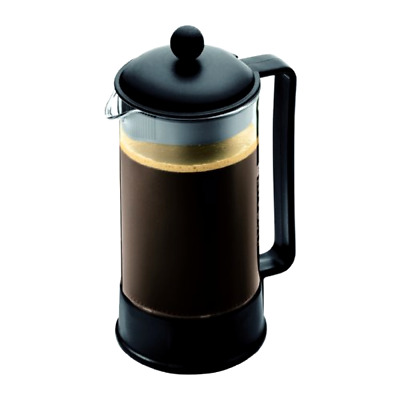 French Press Coffee Maker Bodum Black 8 Cups Capacity Stainless Steel Plunger