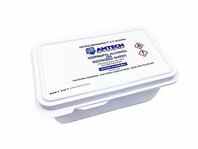"AMTECH 7""x7"" Cleaning Wipes 100pcs USA Pre-Saturated Residue-free Plastic Safe"