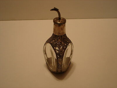 Vintage Bamboo w/Leaves .950 Sterling Silver Overlay Glass Pinch Bottle