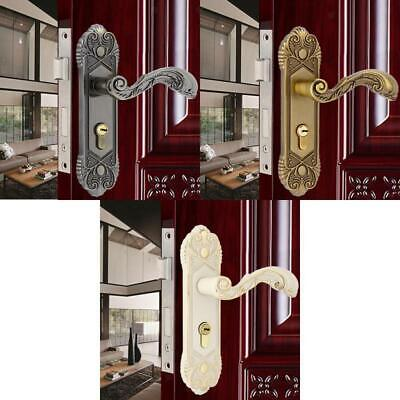 Antique Retro Latch Panel Lever Lock Safety Cylinder Handle For 35mm-50mm Door