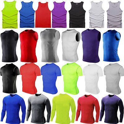Mens T Shirt Compression Under Skin Base Layer Tight Tops Gym Fitness Running