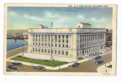Vintage Postcard Linen  US Post Office Columbus Ohio Old Cars River 1939