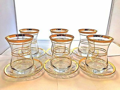 12 Pieces Clear Glass Traditional Turkish Tea Cup and Saucer 135ml