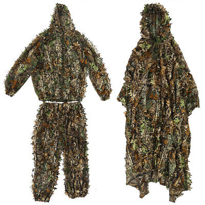 Hunting 3D Leaf Camouflage Ghillie Suit Clothing Cloak Woodland Jungle Sniper MP