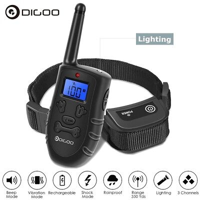 Digoo LCD Electric Remote Dog Shock Bark Collar Trainer Training Waterproof 300M