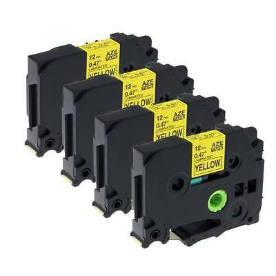 TZ-631 TZe-631 Compatible for Brother P-touch Label Tape Black on Yellow 8m 4pk
