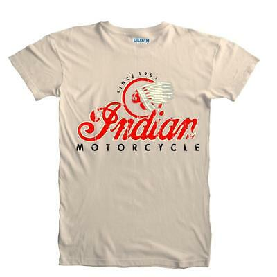 Classic Vintage Retro Indian Motorcycle Distressed Print T-Shirt Sizes S to 5XL