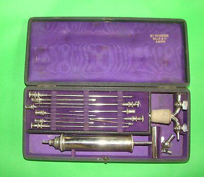 Very Rare Medical Surgical Syringe Case Needle Tube Charriere  & Collin Ca 1850