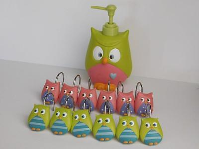 Owl Shower Hooks, Matching Soap Dispenser Colorful Home Decor