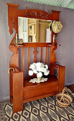 Carved Art Nouveau c.1920s Hall / Umbrella Stand, Mirror + Blanket Box / Seat