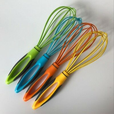 """10""""Plastic Handle Silicone Wire Egg Beater Cream Butter Whisk Mixer Kitchen Tool"""
