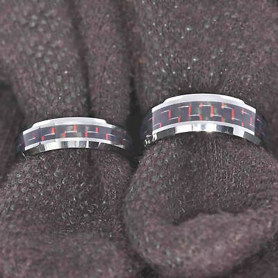 White Tungsten His & Hers Engagement Wedding Band Ring Sets Red Carbon Fiber