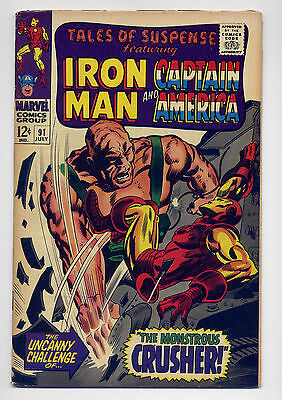 Tales of Suspense #91 VG 1967 ~ Iron Man Captain America Marvel Comic Stan Lee