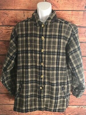 NICE gray and blue plaid Mens Heavy 65% wool Button Down Shirt  Size Large.(a68)