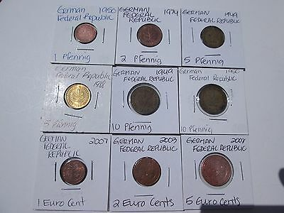 GERMAN FEDERAL REPUBLIC     9 coins, 1949-2007 circulated