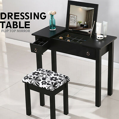 Bedroom Dressing Table With Mirror Stool Makeup Vanity Set Desk Dresser Black