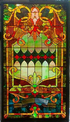 BIG, BOLD,  & BEAUTIFUL Antique Jeweled Victorian Original Stained Glass Window