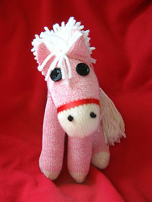 Rockford Red Heel  White Maned Pink Sock Monkey Personalized Pony /  Horse!