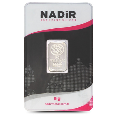 5 gram Fine Silver Bullion Bar 999 Nadir LBMA certificated credit card size