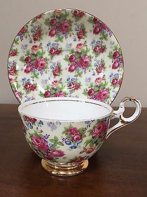 Old Royal CHINTZ PINK ROSE Footed Cup & Saucer Set  ~ England