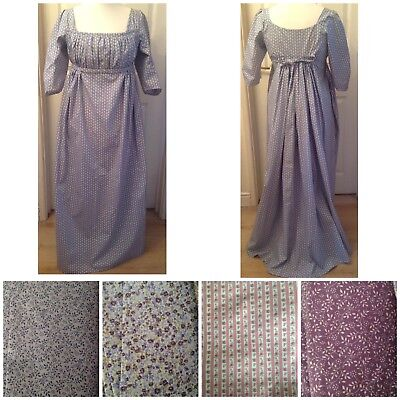 "Jane Austen Regency Bib Front Dress Sz 14-18  Bust 38-42"" 8 Different Colours!"