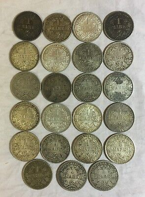 Lot of 23 German 1 Mark Silver Mark Coins: Decent grades, mixed years