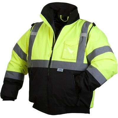 Pyramex Class 3 Reflective Safety Bomber Jacket with Quilted Liner, Hi-Vis Green