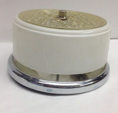 Vintage 50S Deco clear white SHADE BATHROOM CEILING CHROME LIGHT FIXTURE Round 9