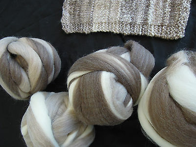 Natural coloured  WA Wool Top Roving ' Feathering' 100gm. Spinning or Felting.