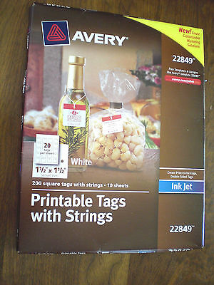 Avery Printable Tags with Strings, White, 1.5 x 1.5 Inches, Pack of 200- New