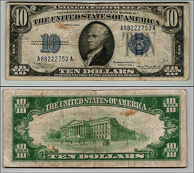 1934A $10 Silver Certificate Blue Seal Nice Piece Of History Lot Q 313
