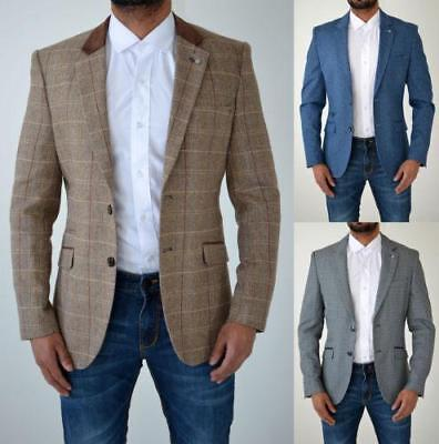 Cavani Mens Tweed Herringbone Checkered Vintage Tailored Blazer Jacket Suit