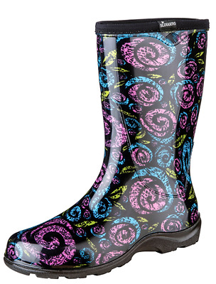NEW Sloggers Womens Rain and Garden Boots Waterproof Size 7 Black Floral Swirl