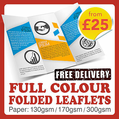 A3 A4 A5 Folded Flyers / Leaflets / Menus Printed Full Colour - BEST PRICES