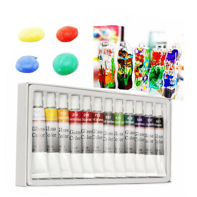 12 Color 12mL Waterproof Non Toxic Glass Paint Tube Set Stain Glass Painting Kit