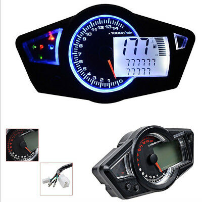 Digital Motorcycle 14000RPM Multi Function Odometer Speedometer Tachometer Gauge