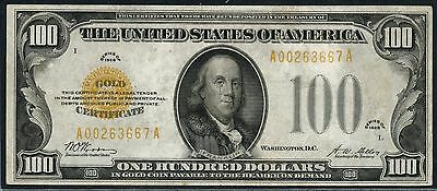 Fr2405 $100 1928 Vf+ Gold Note With Small Tear Repair Wlm3696