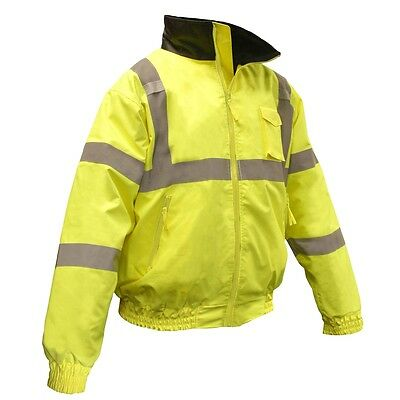 Radians Class 3 Reflective Safety Bomber Jacket with Quilted Liner, Yellow