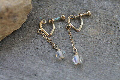 Vintage Gold Screw Back Clear Dangle Pair of Earrings Estate Find Jewelry