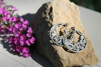 Vintage Large Silver Floral Circular Pair of Earrings Estate Find Jewelry