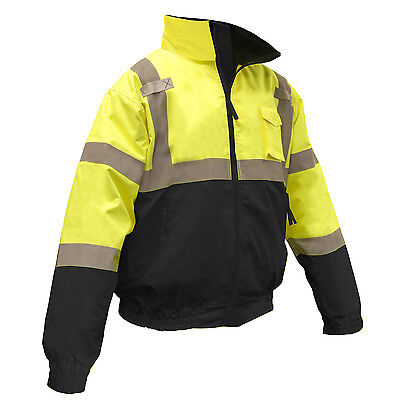 Radians Class 3 Reflective Safety Bomber Jacket with Removable Liner