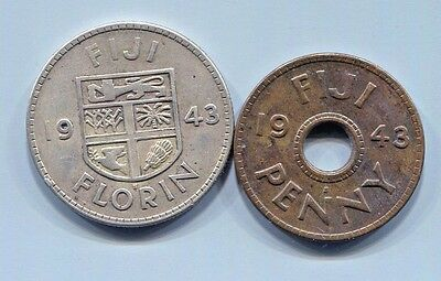 Fiji - Beautiful Historical George Vi 1943 S Silver Florin + Gift: 1943 S Penny
