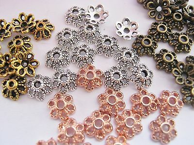 """50 Flower Bead Caps 6mm (1/4"""") Silver, Gold, Rose Gold Bronze Bead Ends Findings"""