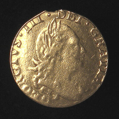 1781 Great Britain 1/2 Guinea gold coin 4.02g, VG, mount removed, slightly bent