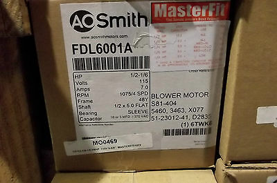 New! AO Smith 1/2-1/6HP 1075/4rpm 115V Blower Motor FDL6001A 48Y Frame Sleeve Br